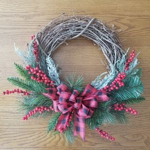 Other - Handmade Christmas buffalo plaid wreath